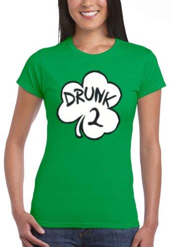 [Womens Drunk 2 Irish Green Costume Funny Junior T-Shirt Tee, Large] (St Patrick The Saint Costume)