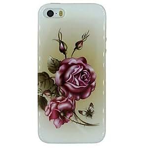 MOFY- flores y mariposas patr—n de material de TPU caso de la contraportada suave para el iPhone 5 / 5s