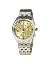 Bulova 96B239 Men's Accutron II Gold Tone Dial Steel Bracelet Chronograph Watch