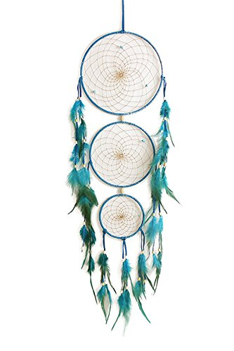 Jescrich Turquoise Dream Catcher Car Wall Hanging Ornament 3 Ring Dreamcatcher Wall Craft Gift(Blue)