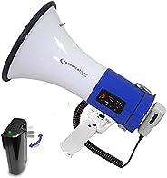 Technical Pro Portable 50-Watt Megaphone Bullhorn Speaker w/Detachable Microphone w/Rechargeable Battery, a Bu
