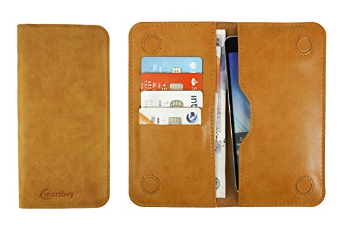 (Emartbuy Tan Premium PU Leather Magnetic Slim Wallet Case Cover Sleeve (Size 1) Suitable for Smartphones/Cellphones Listed Below)
