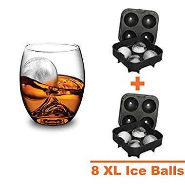 Polar Ice Balls Silicone Trays - Maker of 8 X-large Ice Spheres to Keep Drinks Colder Longer