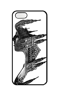 AWU DIYiphone 5/5s case -Double Exposure Profiles of People in Milan Combined With Buildings -Slim Smooth PC Hard Case Cover foriphone 5/5s