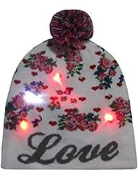 e4a0ed74d8b Stylish LED Light Up Beanie Hat Knit Pom Pom Cap Unisex Ugly Sweater  Holiday Xmas Christmas