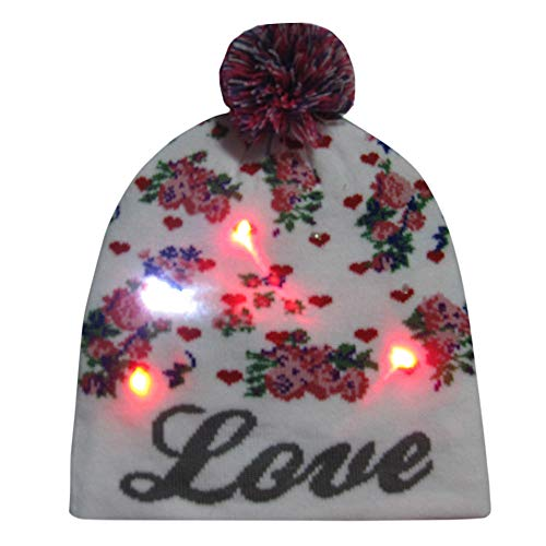 GOVOW Light Up Christmas Hats For Adults LED Knitted Ugly Sweater Holiday Xmas Thanksgiving Beanie ()