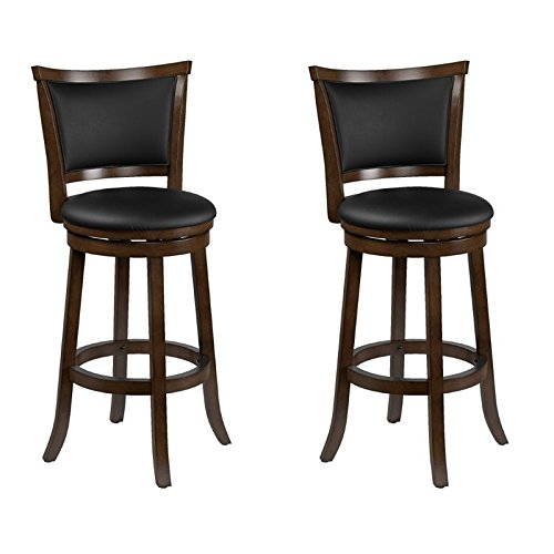 CorLiving Woodgrove Brown Wood Swivel Bar Height Stool with Bonded Leather Seat, 29'' Seat Height, Set of 2 -
