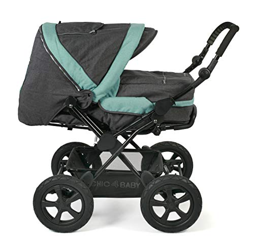 CHIC 4 BABY 100 65 Kombi-Kinderwagen Viva, inklusive Tragetasche, Jeans, melange mint, grau