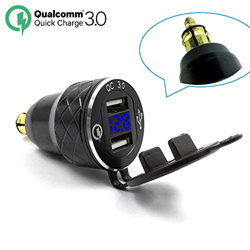 Aluminum Alloy Quick Charge 3.0 Dual Motorcycle USB Charger for BMW Motorcycle Charger for Triumph Tiger Ducati Cigarette Lighter Voltmeter QC3.0 DIN Socket to USB Adapter