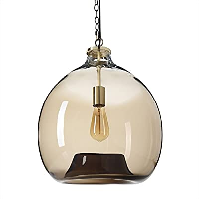 """Casamotion Pendant Lighting Handblown Glass Drop Ceiling Lights, Contemporary Style Hanging Light, Large, Mixed (Brown Ombre) - Pendant Light Dimensions: Quite Large! 17.7*15.7*15.7; 70.8"""" adjustable hard wire cord/chain. Bulb NOT included. Easy-to-install. Caution: Please use the Suspending Chain to bear the weight of this hanging light. Don't use the cord. Hand Blown Glass Light: Each Pendant Lamp is individually mouthblown and handcrafted by skilled craftsmen. Slight variations may occur. - kitchen-dining-room-decor, kitchen-dining-room, chandeliers-lighting - 41uUgOEXEcL. SS400  -"""