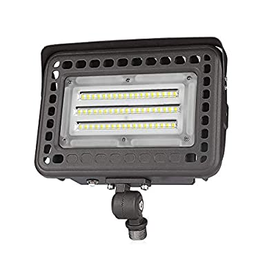 SZGMJIA 60W LED Flood Light with Knuckle, Dusk-to-Dawn Photocell, 5000K 7800lm(300W Equivalent), 5-Year Warranty,Waterproof Security Light
