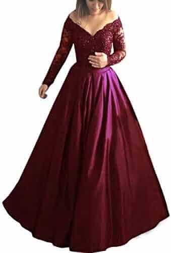 de4d750ca183 Monabridal Women's Off-The-Shoulder Satin Prom Dress Long Sleeves Applique Formal  Long Eveing