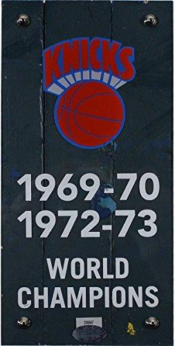 New York Knicks Authentic 4x8 Piece of 1973 MSG Court w/Championship Banner Plexi by Steiner Sports