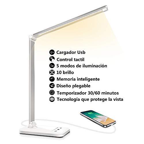 Lámpara Escritorio LED, Flexo de Escritorio (Cuidado Ocular, Puerto USB, 5 Modos,10 Niveles de Brillo,Temporizador de 30…