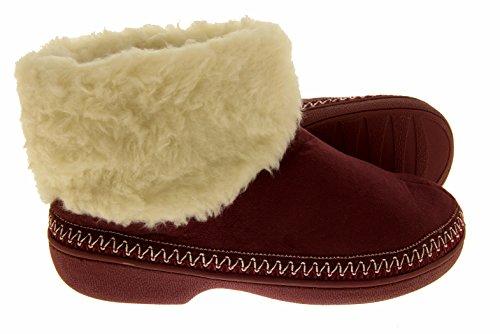 Footwear Studio - Zapatillas de estar por casa para mujer Rojo Borgoña