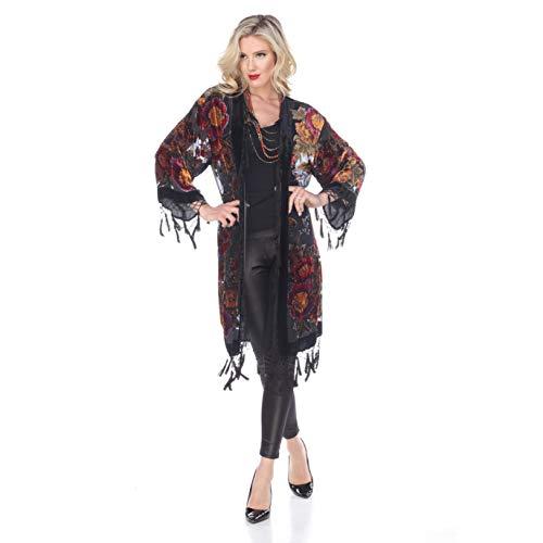 Aris A Women Vintage Floral Silk Burnout Velvet Handmade Beaded with tassels Duster Kimono ()