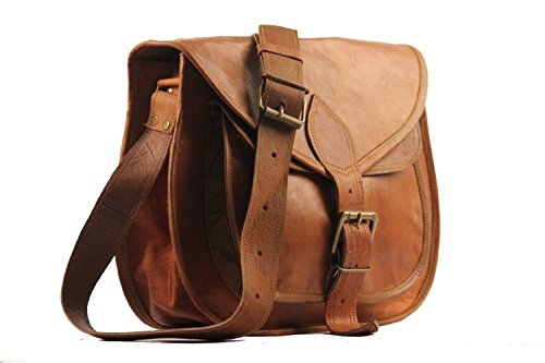 Vintage Couture 18 Inch Genuine Business Leather Laptop Messenger Bag (Brown Litchy)