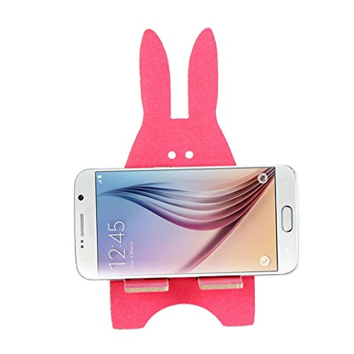 DZT1968 Universal Wooden Rabbit Cell Phone Desk Stand Holder For Tablet ipad iPhone (Hot pink)