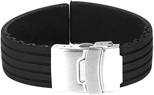 ASDSH 時計バンド 交換ベルトシリコーンゴム 腕時計ストラップ 防水 24mm (ブラック)