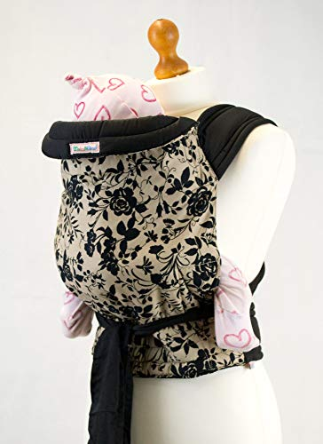 Palm Pond Mei Tai Baby Sling -Black Floral on Tan