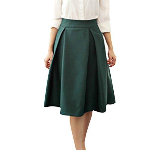 Mi Haute Elastique vase Genoux Pliss Patineuse Fonc Taille Vert Jupe aux Casual Longue FuweiEncore Femme Jupe H0xqSX
