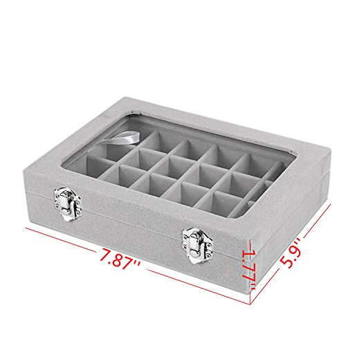 Basuwell 24 Grid Velvet Jewelry Tray for Drawers Glass Clear Lid Showcase Display Storage Ring Trays Holder Earrings Organizer Case-Grey by Basuwell (Image #5)