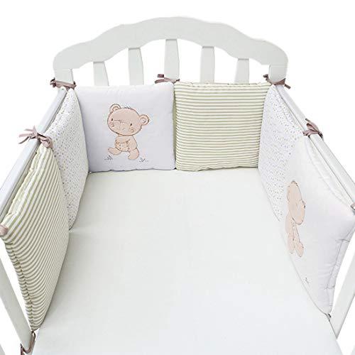 Hengfey Cotton Breathable Baby Crib Bumpers Beige 6 PCS