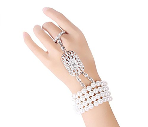 Most Beloved The Great Gatsby Inspired Bridal Flower Pattern Imitation Pearl Bracelet Ring Set (Great Gatsby Costumes For Men)