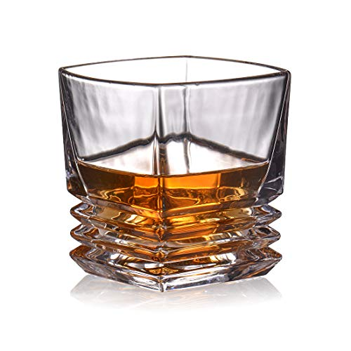 230ml Whisky Glass with Diamond-Cut Design - Perfect for Liquor, Scotch, Bourbon and Old Fashioned Cocktails