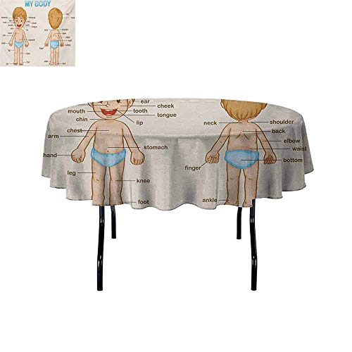 (GloriaJohnson Educational+Iron-Free+Anti-fouling+Holiday+Round+Tablecloth+Illustration+of+The+Parts+of+The+Body+Names+on+Cute+Cartoon+Kid+Boy+Table+Decoration+D67+InchPale+Blue+Pale+Brown+)