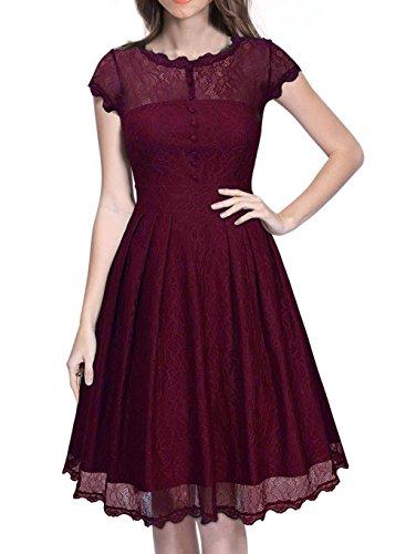 Pinkyee - Vestido - trapecio - para mujer rojo vino