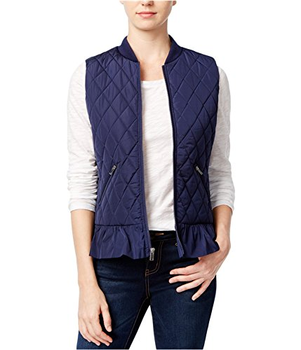 Quilted Zip Vest Full Ladies (maison Jules Womens Full Zip Quilted Vest blunotte XXS)