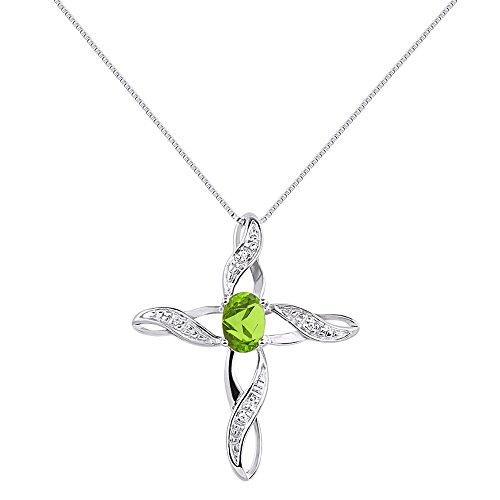 Diamond & Peridot Cross Pendant Necklace Set In Sterling Silver .925
