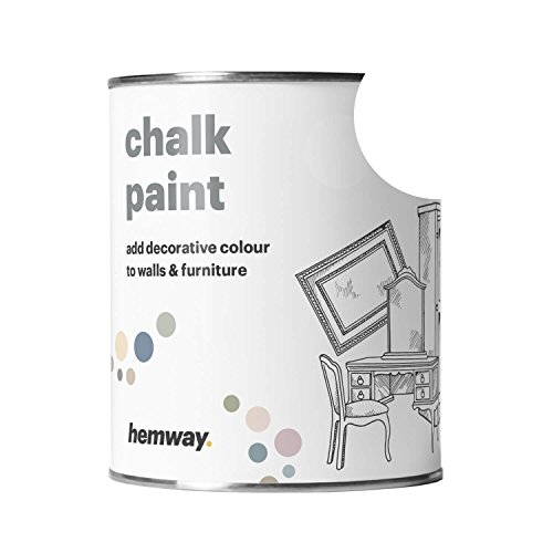 Hemway Chalk Paint (White) Matte finish Wall and Furniture Paint 1L/35oz Shabby Chic Vintage Chalky (14 Colours Available) (Chic Shabby Paint)