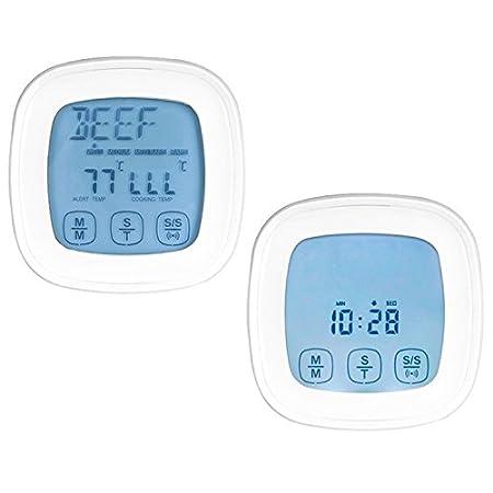 Generic - Termómetro 2 en 1 con pantalla táctil y temporizador de cocina con horno, 2 sondas, termómetro de cocina: Amazon.es: Hogar