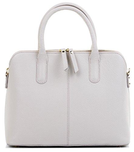 Primo Sacchi Italian Textured Cream Leather Bowling Style Tote Grab Bag or Shoulder Bag Handbag