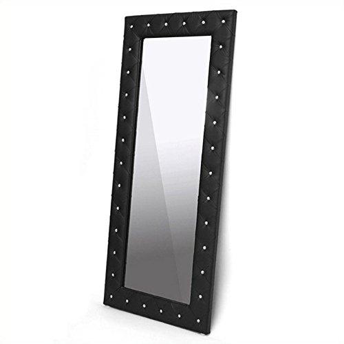 (Baxton Studio Stella Crystal Tufted Modern Floor Mirror,)