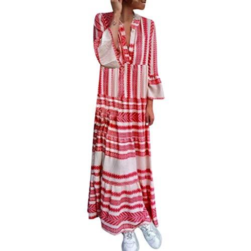 TUSANG Women Skirts Fashion Summer Printed V Neck Beach Party Long Dresses Bohemian Dresses Loose Comfy Dress
