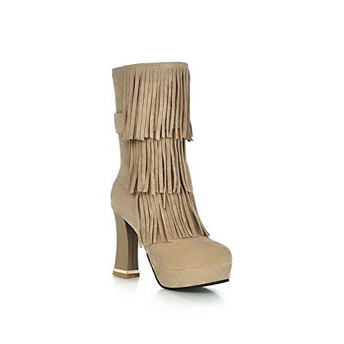 AllhqFashion Damen Hoher Absatz Rund Zehe Mattglasbirne Reißverschluss Stiefel Cremefarben