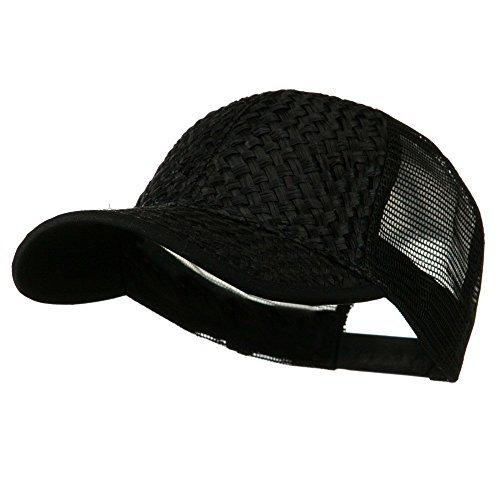Straw Trucker Cap - Black OSFM