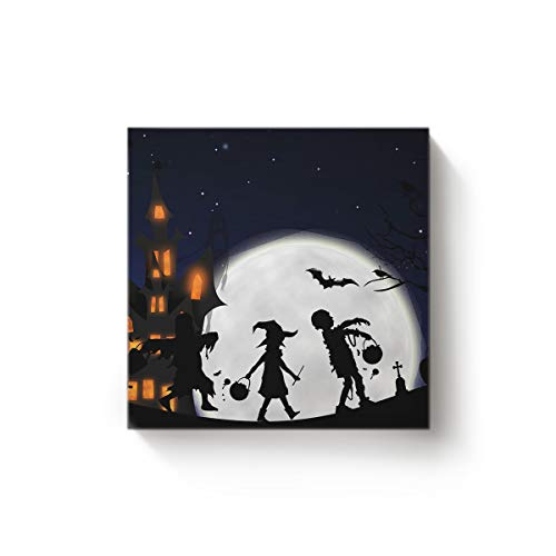 YEHO Art Gallery Square Canvas Wall Art Oil Painting Office Home Decor,Halloween Children Pattern Trick or Treat Artworks for Christmas,Stretched by Wooden Frame,Ready to Hang,12 x 12 Inch]()