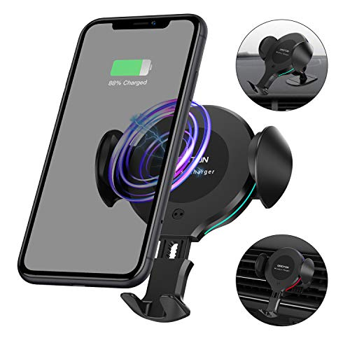OMOTON Wireless Car Charger Mount – 10W 7.5W Qi Fast Charging Auto-Clamping Car Mount, Dashboard Air Vent Phone Holder with RGB LED Lighting Ring, Compatible with iPhone, Samsung, Google, Nokia