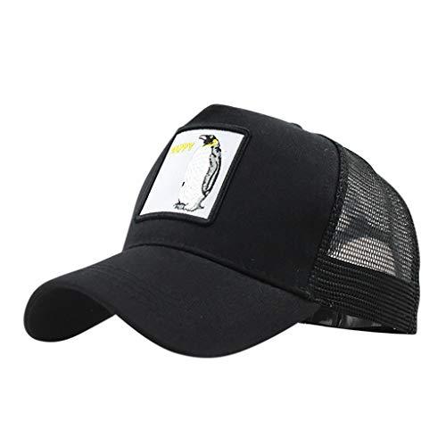 hositor Hats for Men, Unisex Outdoor Cotton Animal Embroidered Baseball Caps Adjustable Black -