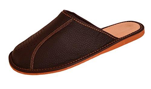 FreeWalker - Zapatillas de estar por casa de piel para hombre, color marrón, talla 42
