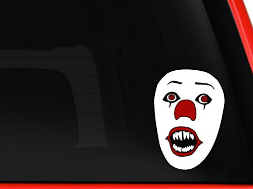 Scary Clown Mirror (Clown's Mask from the Movie It by Stephen King Scary halloween decal sticker car truck SUV Laptop macbook window 6 inches white and)
