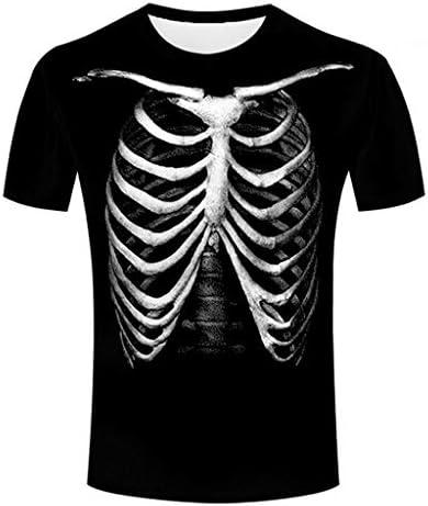 Tシャツ メンズ 半袖 丸い襟 ティーシャツ スケルトン 3Dプリント プルオーバー カジュアル 薄手 通気性 おおきいサイズ 夏服 おしゃれ ポロシャツ オシャレ 人気 トップス 面白い トレーナー かっこいい スウェット