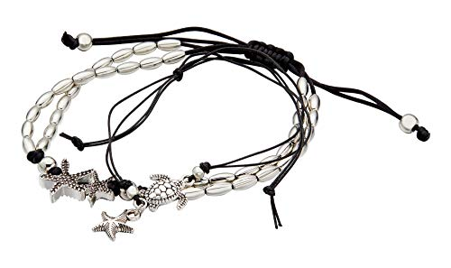 Geerier Vintage Starfish Turtle Anklet Retro Silver Handmade Sea Animal Ankle Bracelet Beach Foot Chain Jewelry For Women 2pcs Pack