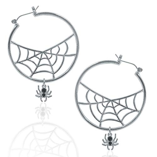 - XS Accessories Hoop Spiderweb Earrings with Dangling Crystal Spider (Silver with Black Stones)