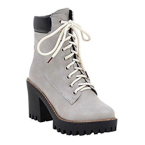Carolbar Heel Up Fashion Short Lace Womens Grey Boots Platform High vYPqvn4W6