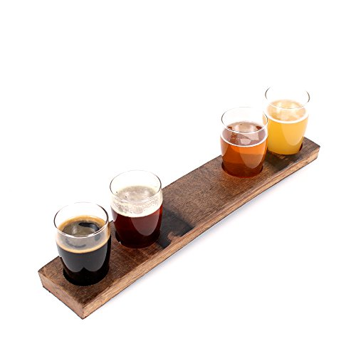 Handcrafted Beer Flight Set and Board | Aged Oak Barrel Beer Serving Tray | For Beer Lovers, Homebrewers, Professional Bars, and Breweries | Beer Flight Paddle and Beer Tasting Glasses or Standalone